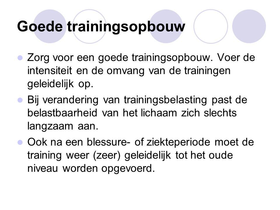 Goede trainingsopbouw Zorg voor een goede trainingsopbouw.