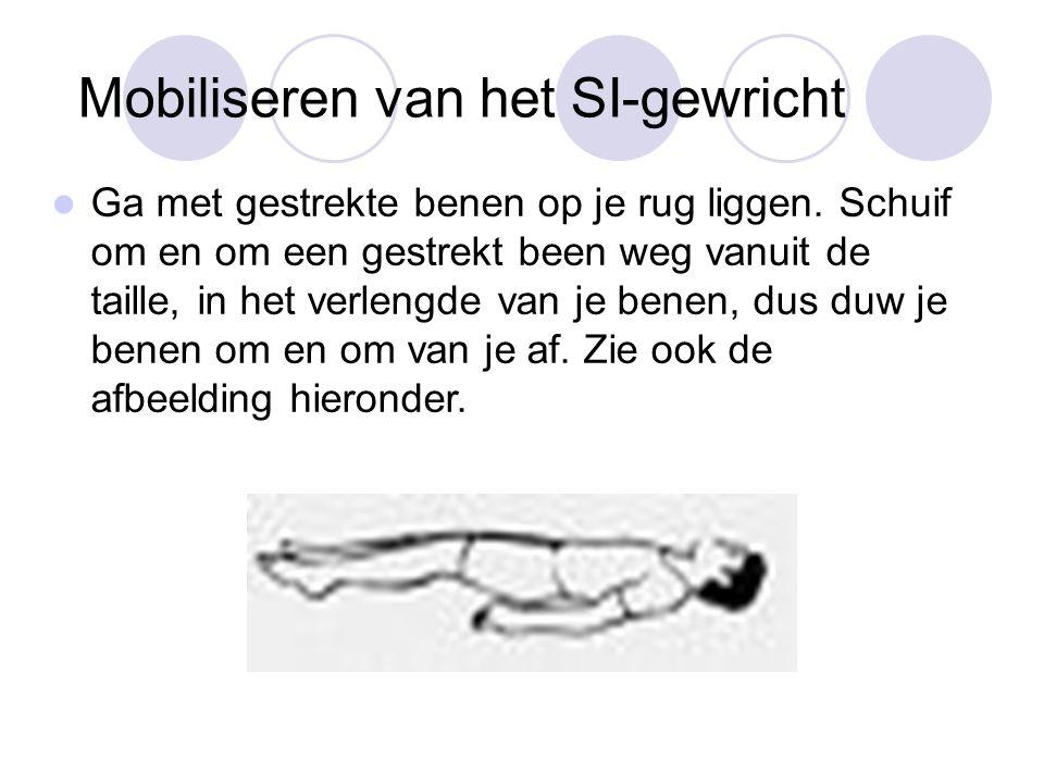 Mobiliseren van het SI-gewricht Ga met gestrekte benen op je rug liggen.