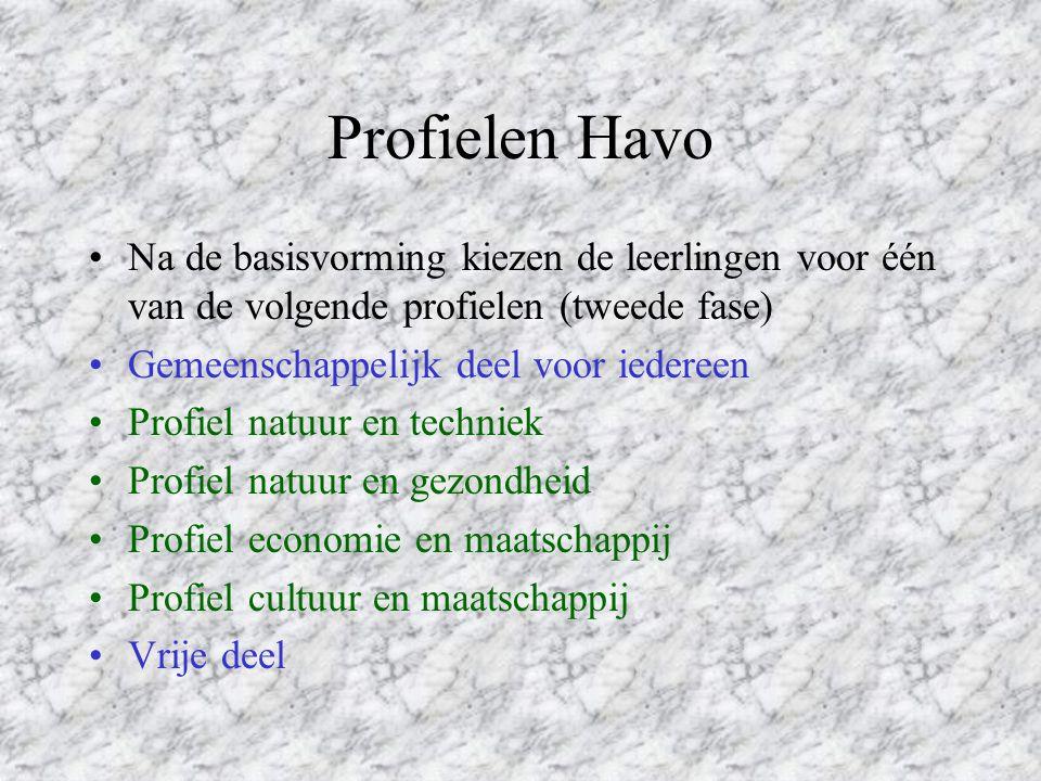 Hoger Algemeen Vormend Onderwijs (HAVO) Havo is géén eindstudie!! Havo leidt op voor het Hoger Beroeps Onderwijs Havo duurt 5 jaar Havo kent géén vakk