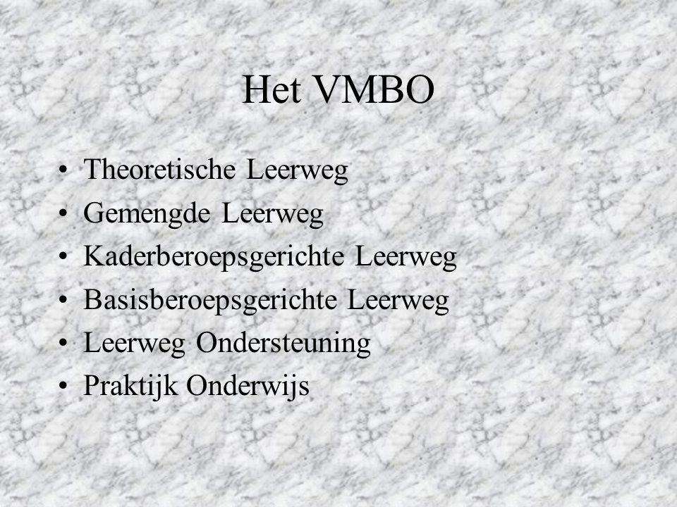 Welke vormen van Voortgezet Onderwijs zijn er? Voorbereidend middelbaar beroeps onderwijs (VMBO) Hoger algemeen vormend onderwijs (HAVO) Voorbereidend