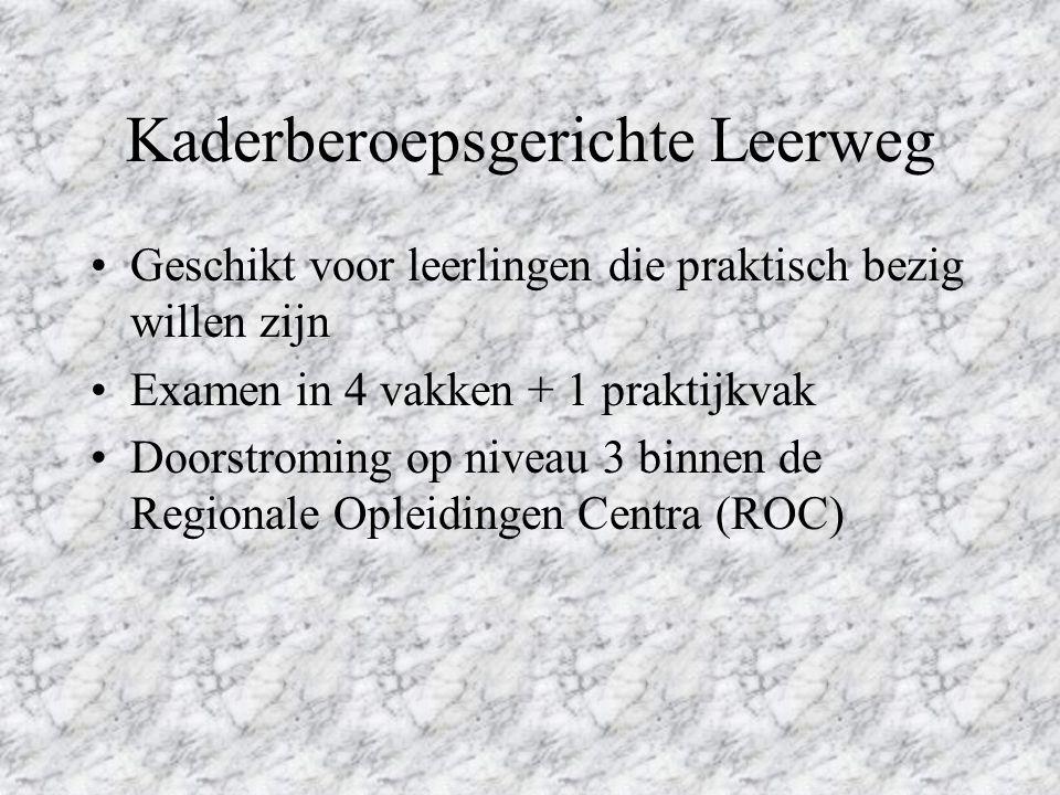 Kaderberoepsgerichte Leerweg Geschikt voor leerlingen die praktisch bezig willen zijn Examen in 4 vakken + 1 praktijkvak Doorstroming op niveau 3 binnen de Regionale Opleidingen Centra (ROC)