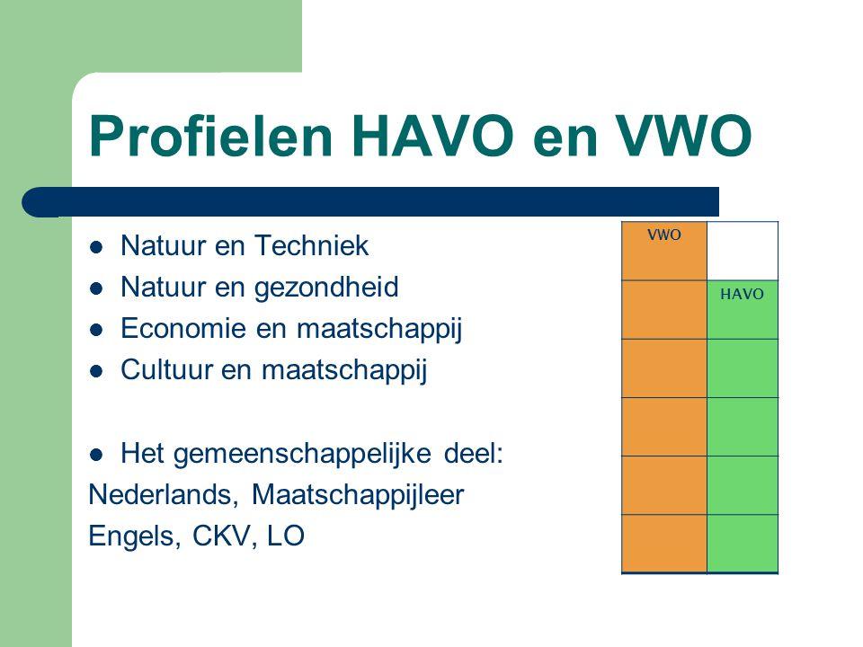 Profielen HAVO en VWO Natuur en Techniek Natuur en gezondheid Economie en maatschappij Cultuur en maatschappij Het gemeenschappelijke deel: Nederlands, Maatschappijleer Engels, CKV, LO VWO HAVO