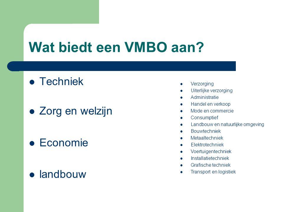 Wat biedt een VMBO aan.