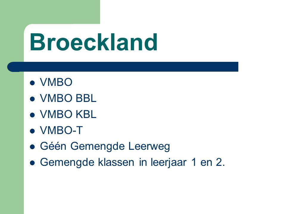 Broeckland VMBO VMBO BBL VMBO KBL VMBO-T Géén Gemengde Leerweg Gemengde klassen in leerjaar 1 en 2.