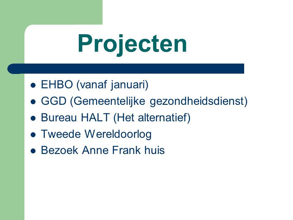 Projecten EHBO (vanaf januari) GGD (Gemeentelijke gezondheidsdienst) Bureau HALT (Het alternatief) Tweede Wereldoorlog Bezoek Anne Frank huis