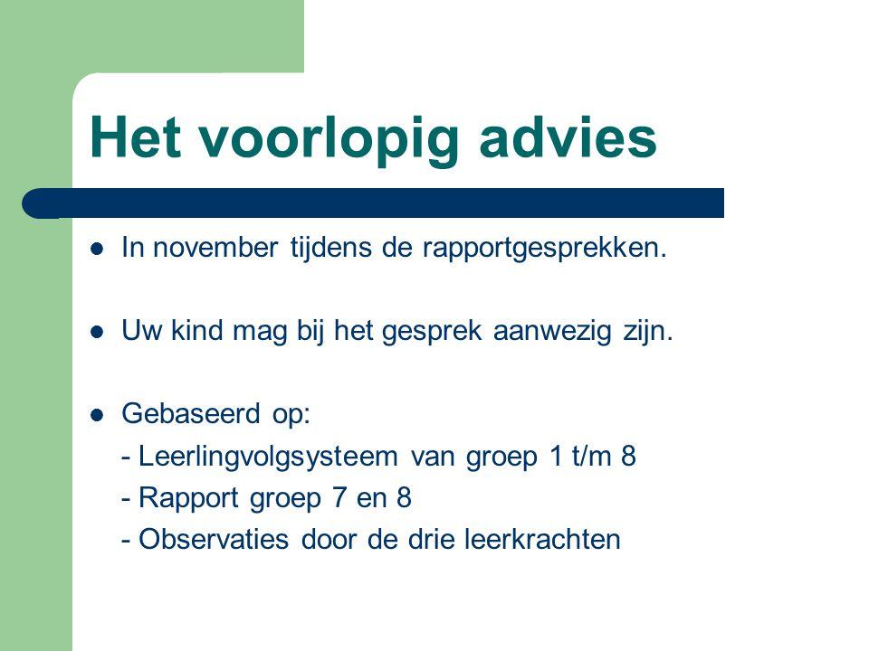 Het voorlopig advies In november tijdens de rapportgesprekken.