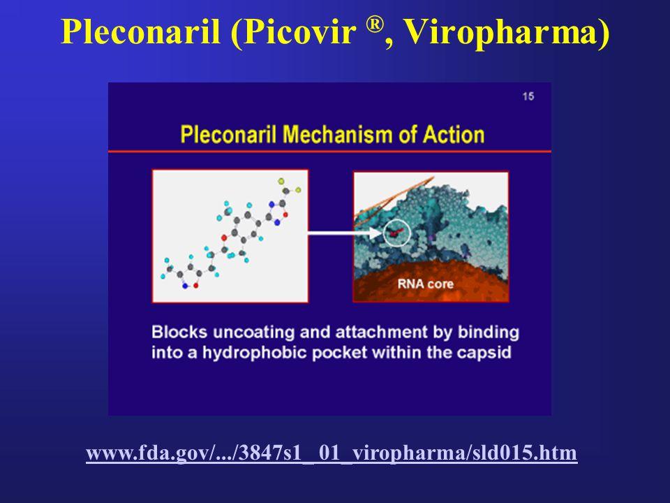 Pleconaril (Picovir ®, Viropharma) www.fda.gov/.../3847s1_ 01_viropharma/sld015.htm