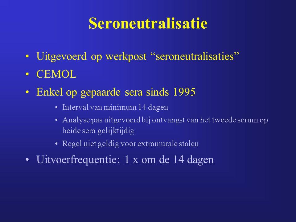 """Uitgevoerd op werkpost """"seroneutralisaties"""" CEMOL Enkel op gepaarde sera sinds 1995 Interval van minimum 14 dagen Analyse pas uitgevoerd bij ontvangst"""