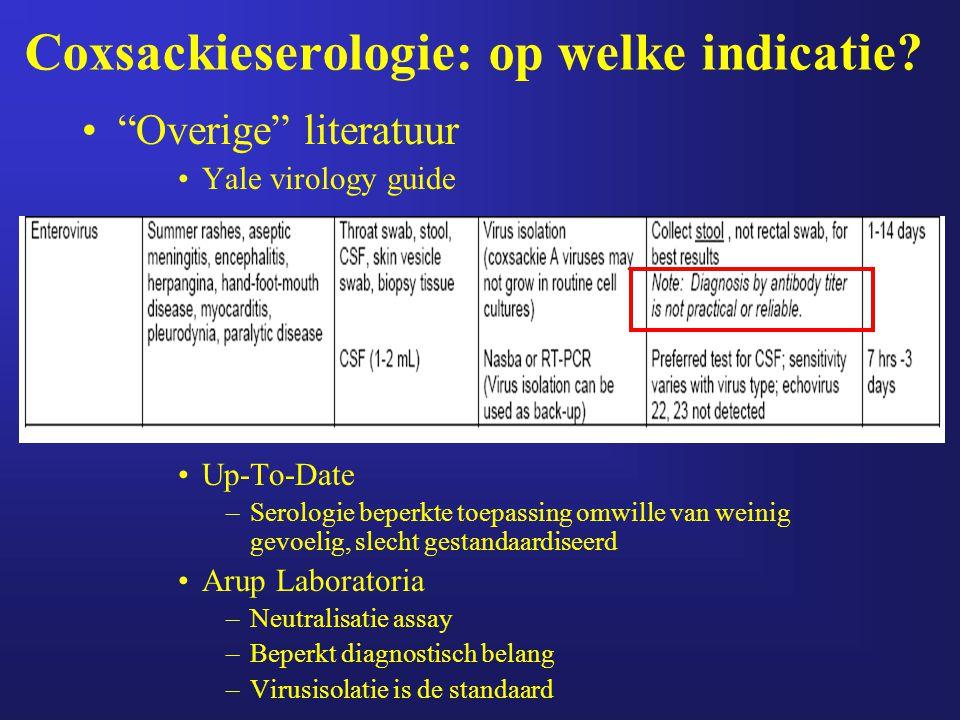 """Coxsackieserologie: op welke indicatie? """"Overige"""" literatuur Yale virology guide Up-To-Date –Serologie beperkte toepassing omwille van weinig gevoelig"""