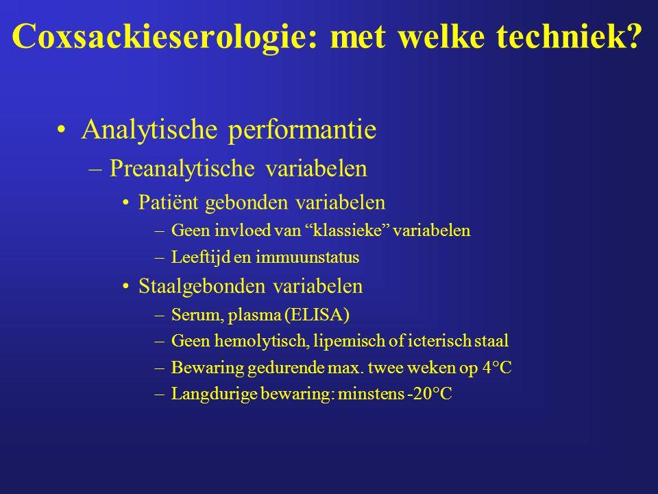 """Coxsackieserologie: met welke techniek? Analytische performantie –Preanalytische variabelen Patiënt gebonden variabelen –Geen invloed van """"klassieke"""""""