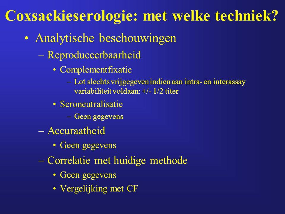 Coxsackieserologie: met welke techniek? Analytische beschouwingen –Reproduceerbaarheid Complementfixatie –Lot slechts vrijgegeven indien aan intra- en