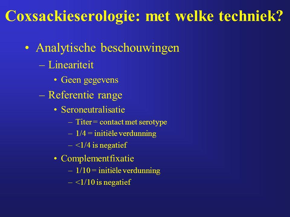Coxsackieserologie: met welke techniek? Analytische beschouwingen –Lineariteit Geen gegevens –Referentie range Seroneutralisatie –Titer = contact met