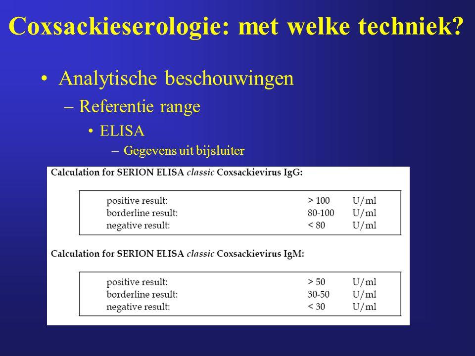 Coxsackieserologie: met welke techniek? Analytische beschouwingen –Referentie range ELISA –Gegevens uit bijsluiter