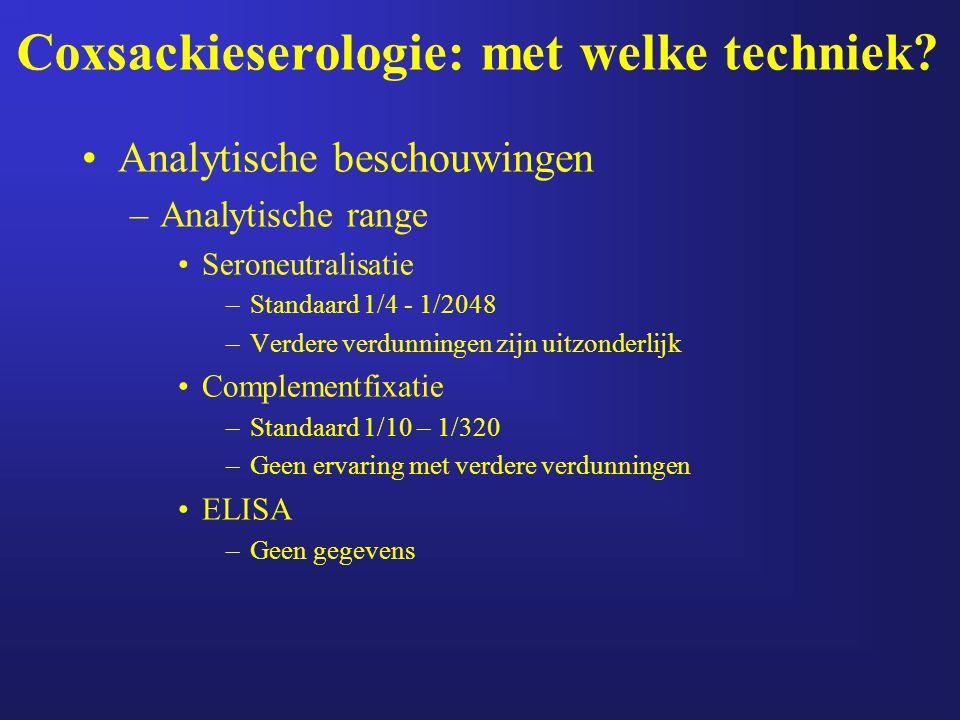 Coxsackieserologie: met welke techniek? Analytische beschouwingen –Analytische range Seroneutralisatie –Standaard 1/4 - 1/2048 –Verdere verdunningen z
