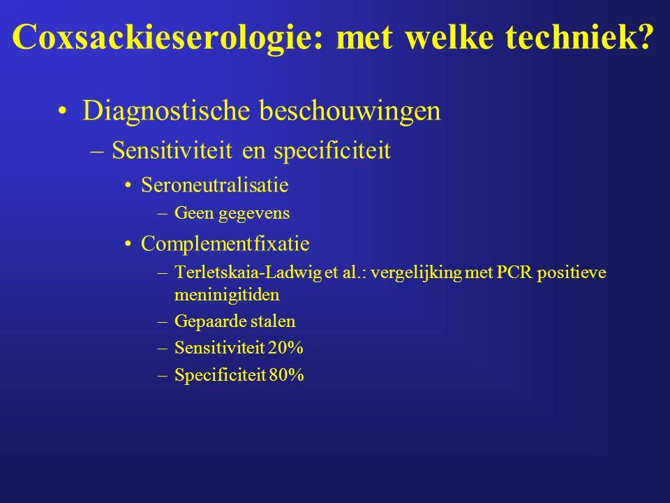 Coxsackieserologie: met welke techniek? Diagnostische beschouwingen –Sensitiviteit en specificiteit Seroneutralisatie –Geen gegevens Complementfixatie