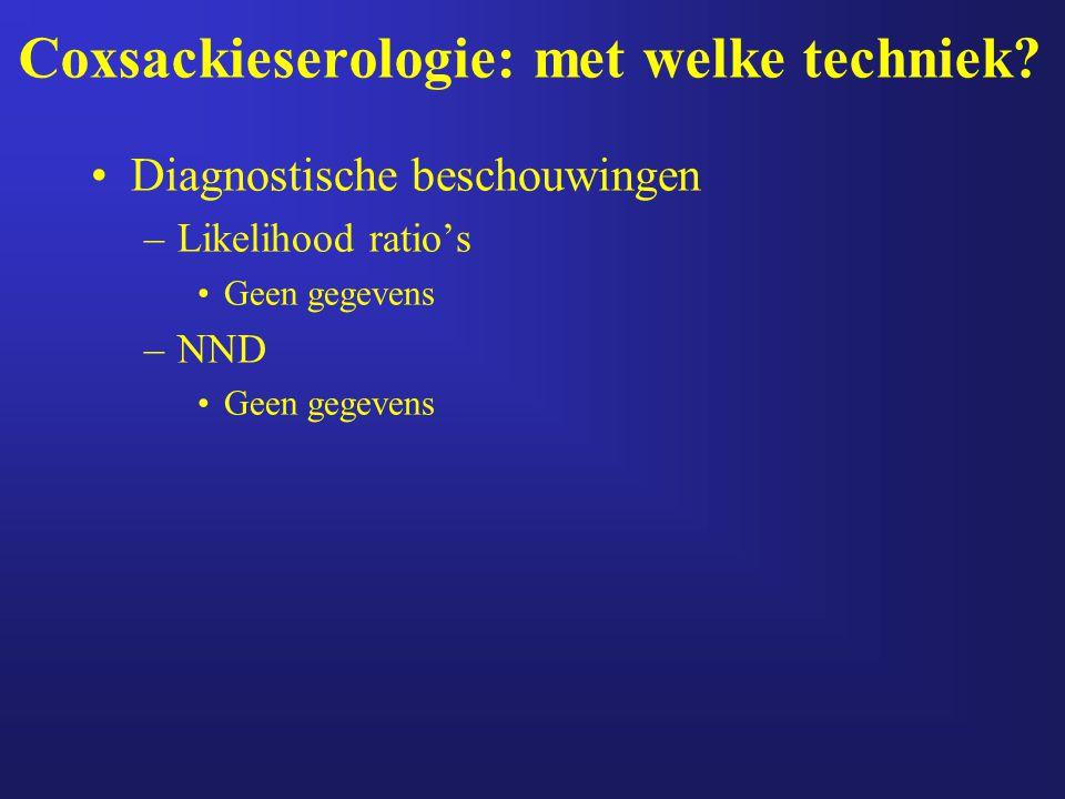 Coxsackieserologie: met welke techniek? Diagnostische beschouwingen –Likelihood ratio's Geen gegevens –NND Geen gegevens