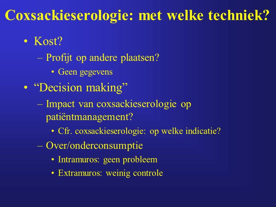"""Coxsackieserologie: met welke techniek? Kost? –Profijt op andere plaatsen? Geen gegevens """"Decision making"""" –Impact van coxsackieserologie op patiëntma"""