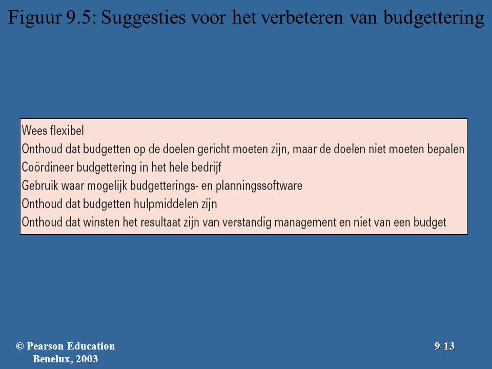 Figuur 9.5: Suggesties voor het verbeteren van budgettering © Pearson Education Benelux, 20039-13