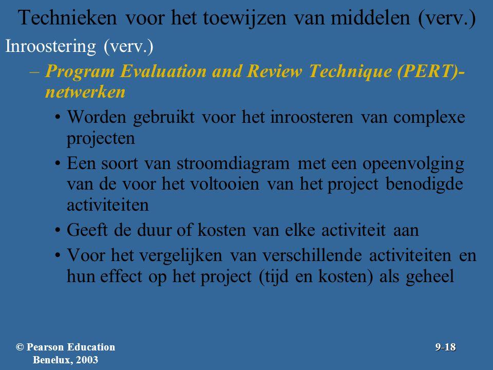 Technieken voor het toewijzen van middelen (verv.) Inroostering (verv.) –Program Evaluation and Review Technique (PERT)- netwerken Worden gebruikt voo