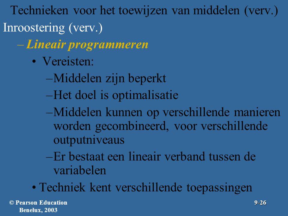 Technieken voor het toewijzen van middelen (verv.) Inroostering (verv.) –Lineair programmeren Vereisten: –Middelen zijn beperkt –Het doel is optimalis