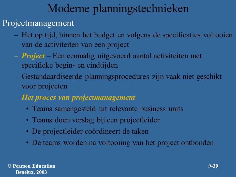 Moderne planningstechnieken Projectmanagement –Het op tijd, binnen het budget en volgens de specificaties voltooien van de activiteiten van een projec