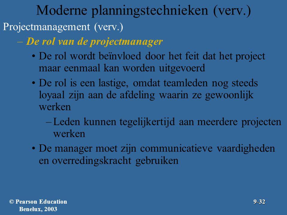 Moderne planningstechnieken (verv.) Projectmanagement (verv.) –De rol van de projectmanager De rol wordt beïnvloed door het feit dat het project maar