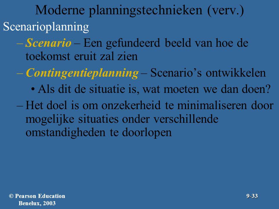 Moderne planningstechnieken (verv.) Scenarioplanning –Scenario – Een gefundeerd beeld van hoe de toekomst eruit zal zien –Contingentieplanning – Scena