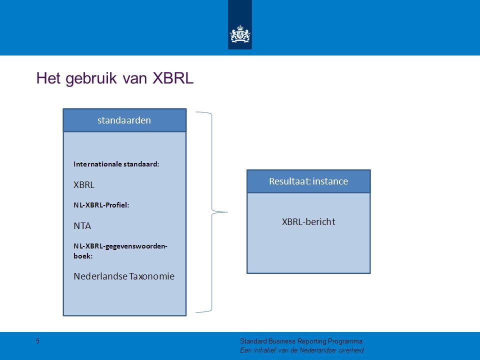 Het gebruik van XBRL 5Standard Business Reporting Programma Een initiatief van de Nederlandse overheid