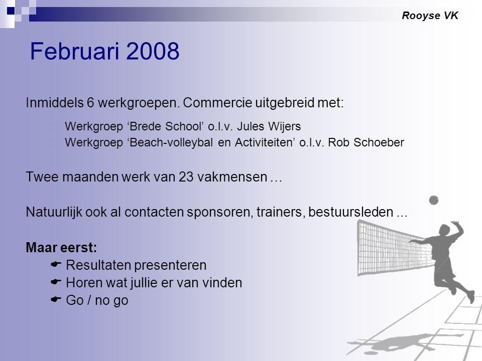 Rooyse VK Februari 2008 Inmiddels 6 werkgroepen. Commercie uitgebreid met:  Werkgroep 'Brede School' o.l.v. Jules Wijers  Werkgroep 'Beach-volleybal