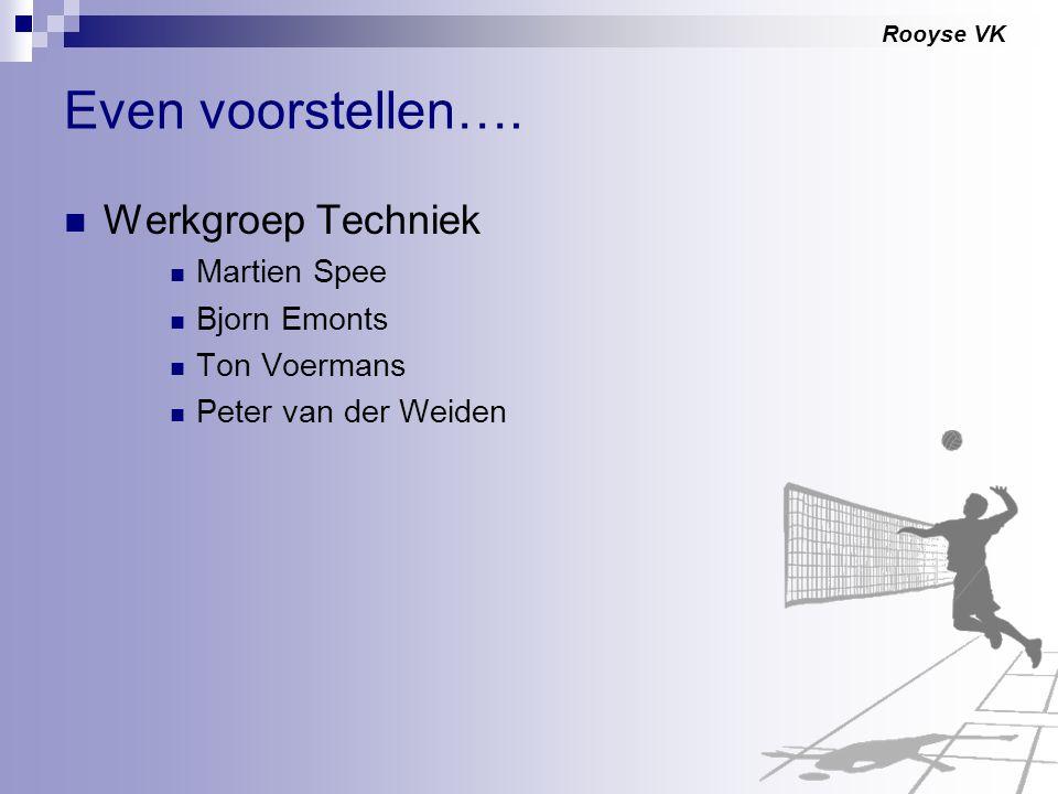 Rooyse VK Even voorstellen…. Werkgroep Techniek Martien Spee Bjorn Emonts Ton Voermans Peter van der Weiden