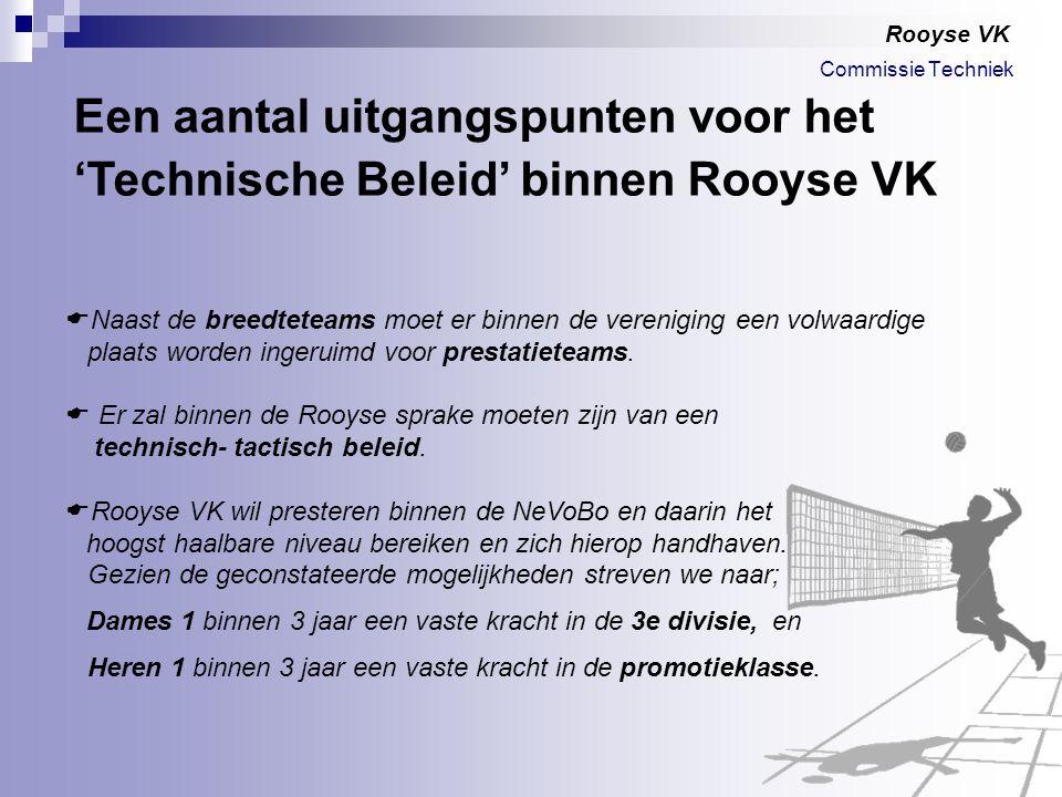 Rooyse VK  Naast de breedteteams moet er binnen de vereniging een volwaardige plaats worden ingeruimd voor prestatieteams.  Er zal binnen de Rooyse