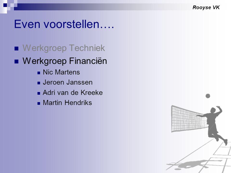 Rooyse VK Even voorstellen…. Werkgroep Techniek Werkgroep Financiën Nic Martens Jeroen Janssen Adri van de Kreeke Martin Hendriks
