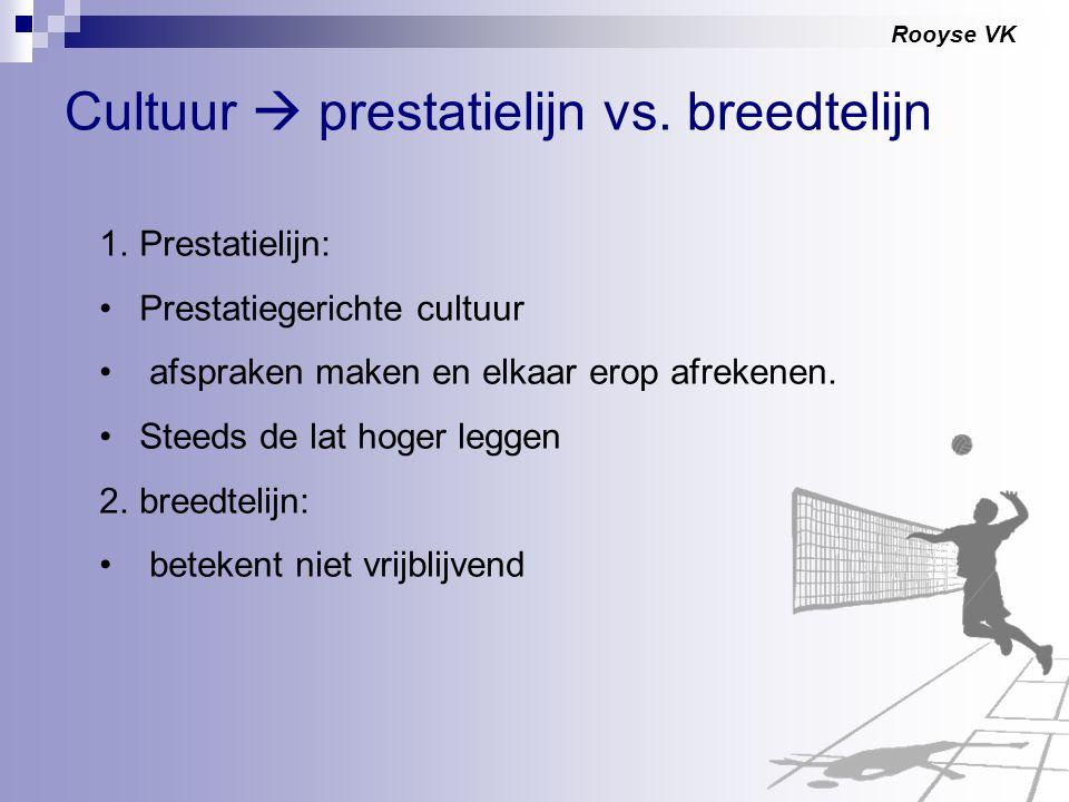 Rooyse VK Cultuur  prestatielijn vs. breedtelijn 1.Prestatielijn: Prestatiegerichte cultuur afspraken maken en elkaar erop afrekenen. Steeds de lat h