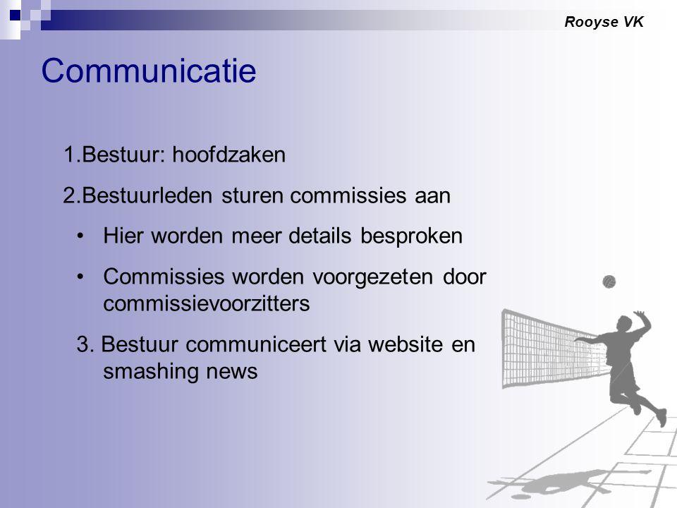 Rooyse VK Communicatie 1.Bestuur: hoofdzaken 2.Bestuurleden sturen commissies aan Hier worden meer details besproken Commissies worden voorgezeten doo