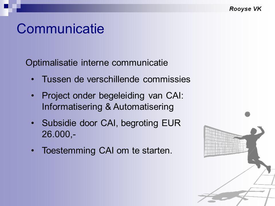 Rooyse VK Communicatie Optimalisatie interne communicatie Tussen de verschillende commissies Project onder begeleiding van CAI: Informatisering & Auto