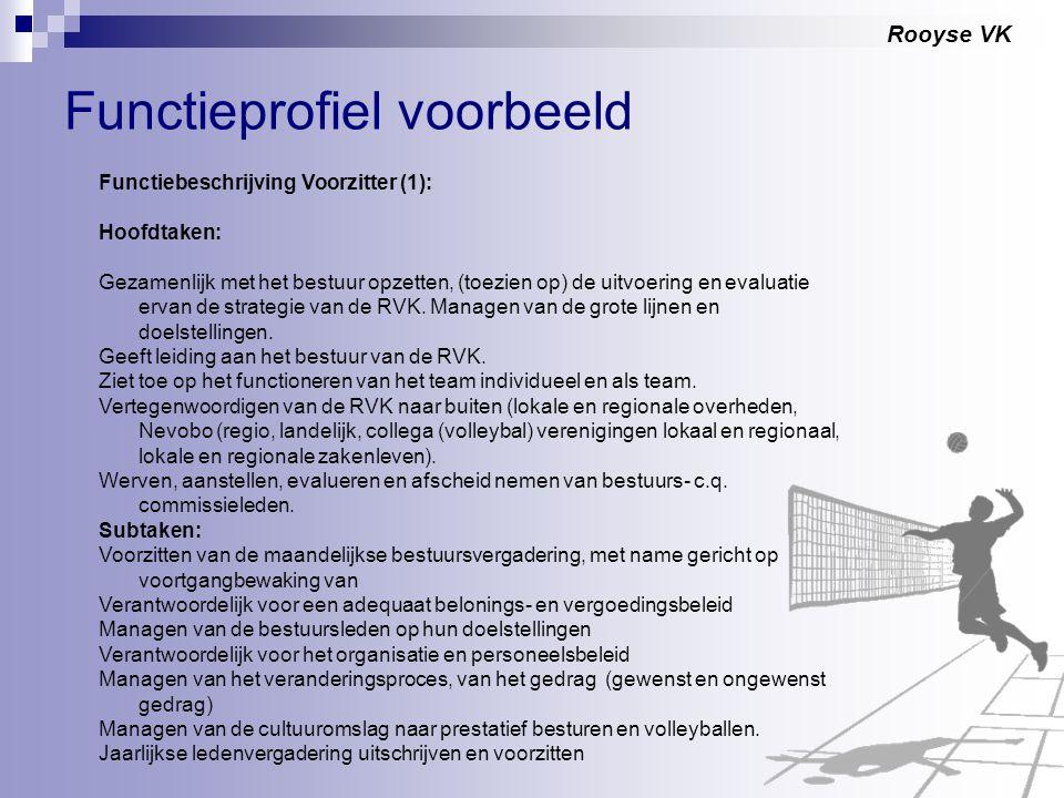 Rooyse VK Functieprofiel voorbeeld Functiebeschrijving Voorzitter (1): Hoofdtaken: Gezamenlijk met het bestuur opzetten, (toezien op) de uitvoering en