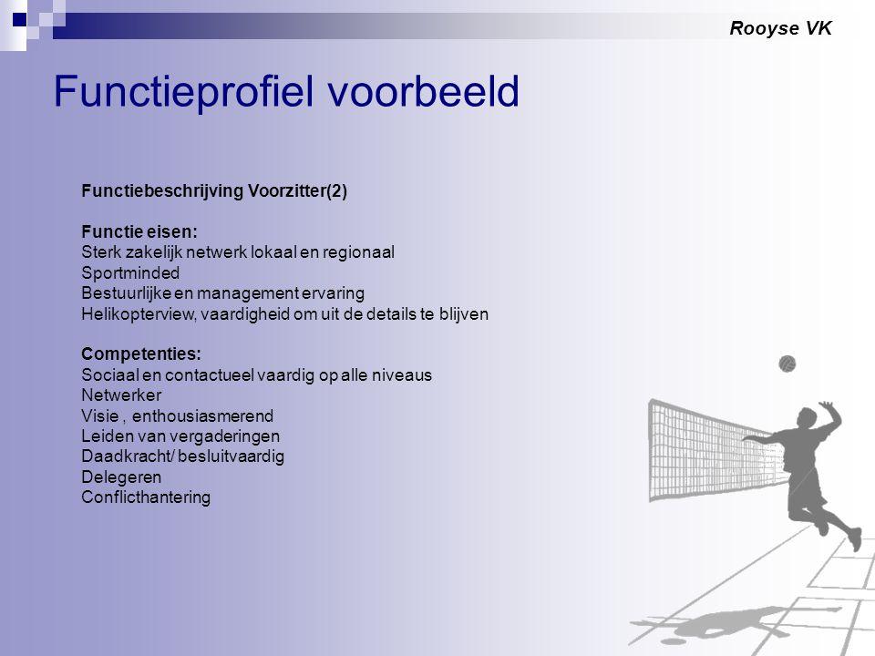 Rooyse VK Functieprofiel voorbeeld Functiebeschrijving Voorzitter(2) Functie eisen: Sterk zakelijk netwerk lokaal en regionaal Sportminded Bestuurlijk