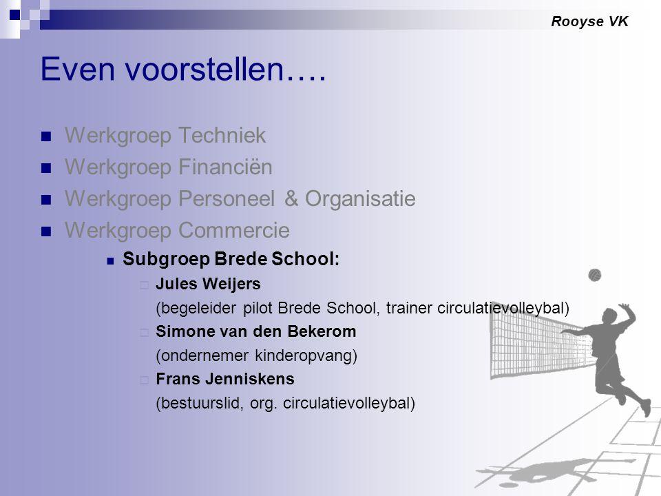 Rooyse VK Even voorstellen…. Werkgroep Techniek Werkgroep Financiën Werkgroep Personeel & Organisatie Werkgroep Commercie Subgroep Brede School:  Jul