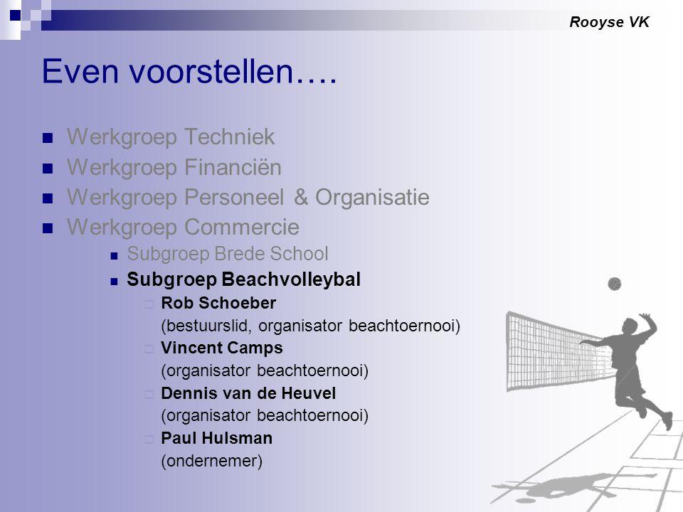 Rooyse VK Even voorstellen…. Werkgroep Techniek Werkgroep Financiën Werkgroep Personeel & Organisatie Werkgroep Commercie Subgroep Brede School Subgro