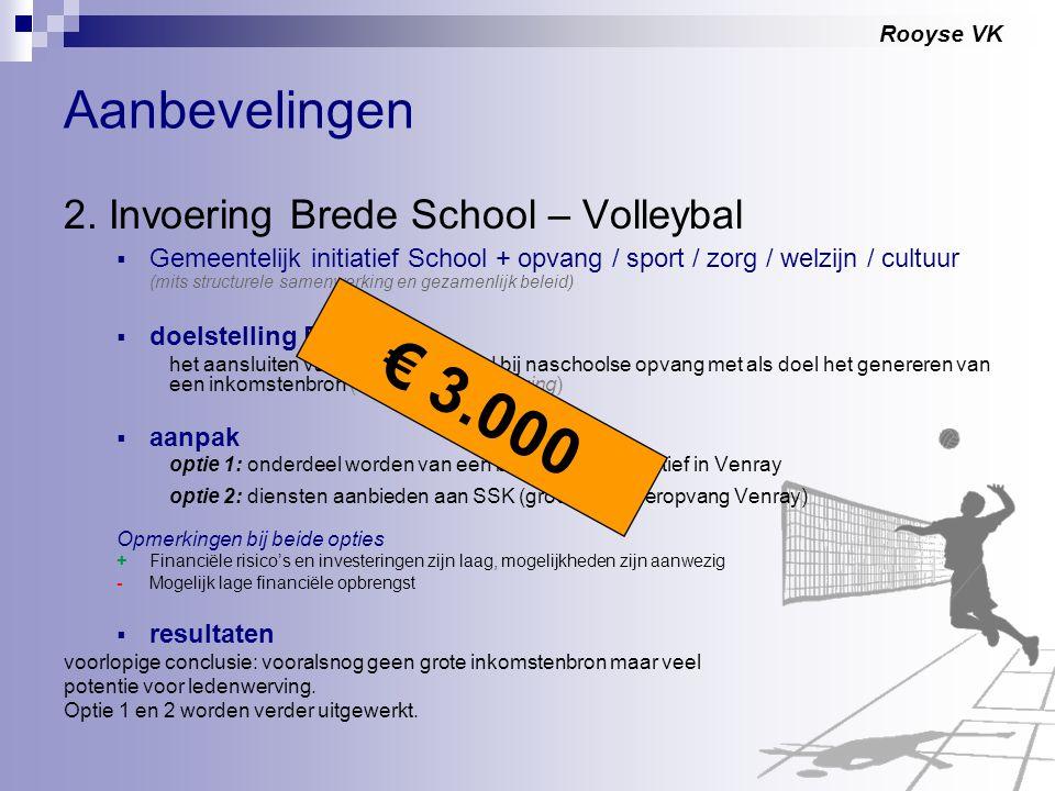 Rooyse VK Aanbevelingen 2. Invoering Brede School – Volleybal  Gemeentelijk initiatief School + opvang / sport / zorg / welzijn / cultuur (mits struc