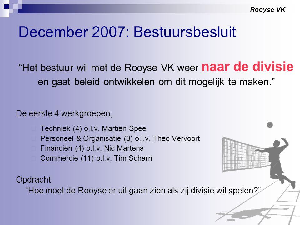 """Rooyse VK December 2007: Bestuursbesluit """"Het bestuur wil met de Rooyse VK weer naar de divisie en gaat beleid ontwikkelen om dit mogelijk te maken."""""""