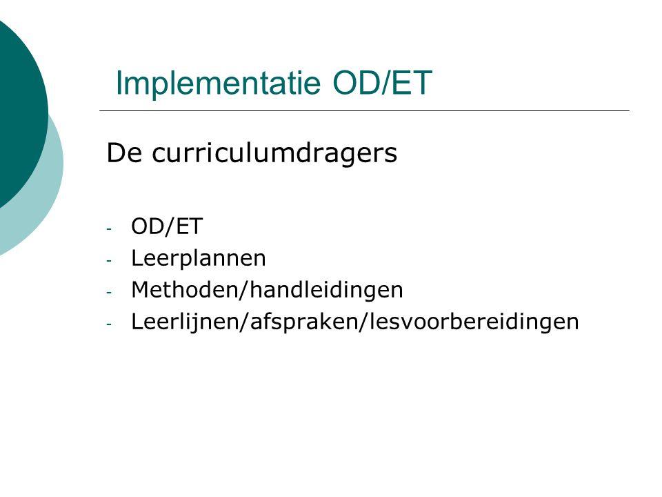 Implementatie OD/ET De curriculumdragers - OD/ET - Leerplannen - Methoden/handleidingen - Leerlijnen/afspraken/lesvoorbereidingen