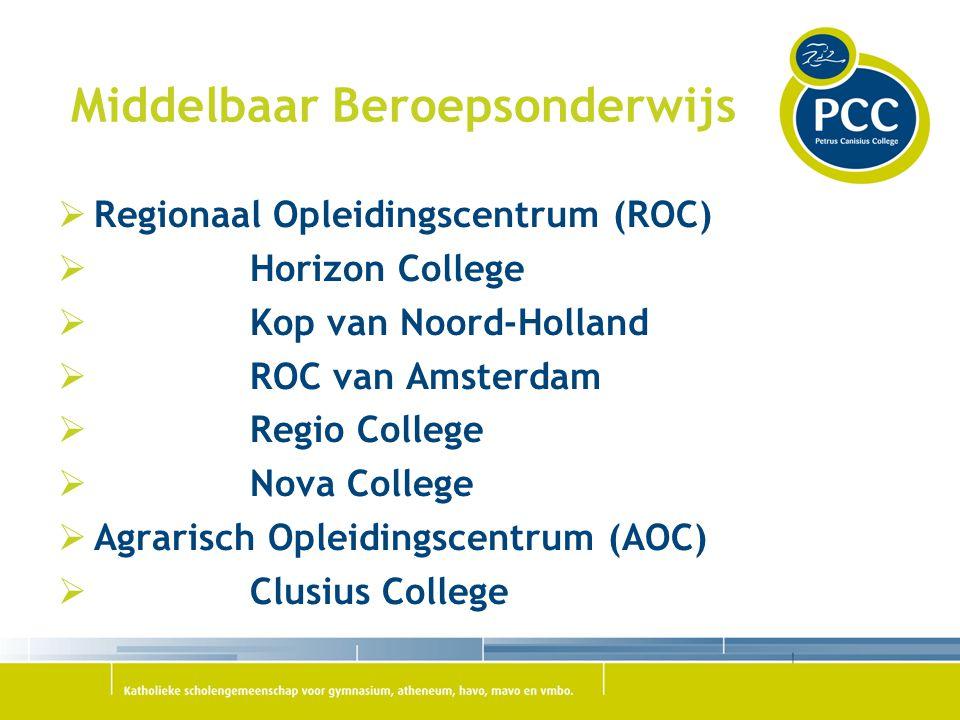Middelbaar Beroepsonderwijs  Regionaal Opleidingscentrum (ROC)  Horizon College  Kop van Noord-Holland  ROC van Amsterdam  Regio College  Nova C