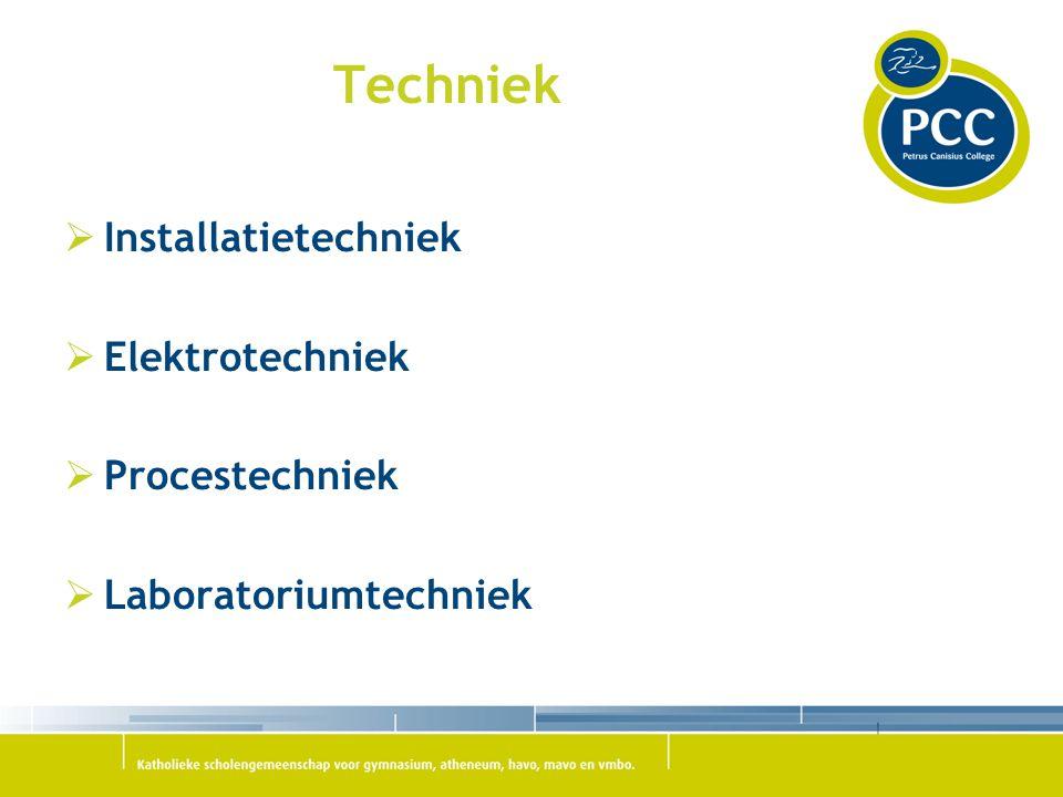  Installatietechniek  Elektrotechniek  Procestechniek  Laboratoriumtechniek