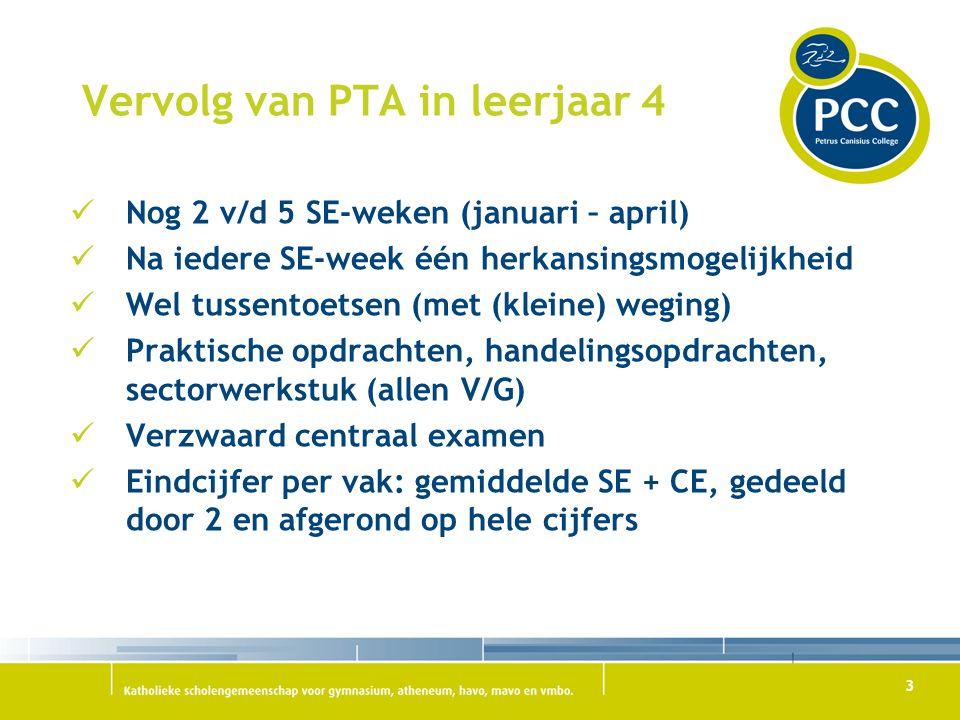 3 Vervolg van PTA in leerjaar 4 Nog 2 v/d 5 SE-weken (januari – april) Na iedere SE-week één herkansingsmogelijkheid Wel tussentoetsen (met (kleine) w