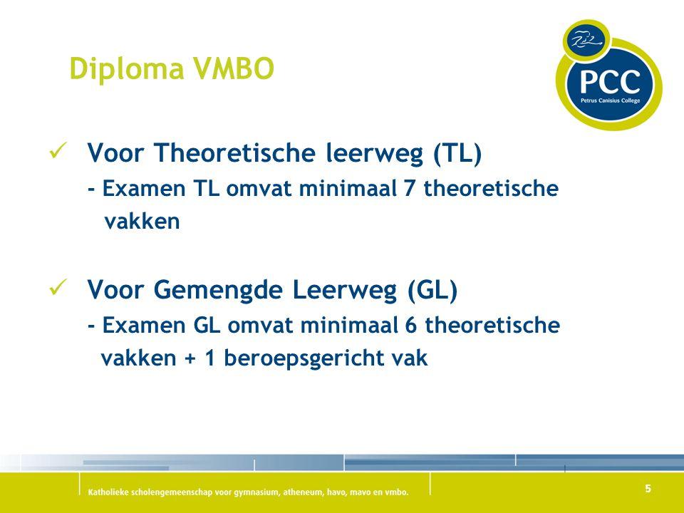 5 Diploma VMBO Voor Theoretische leerweg (TL) - Examen TL omvat minimaal 7 theoretische vakken Voor Gemengde Leerweg (GL) - Examen GL omvat minimaal 6