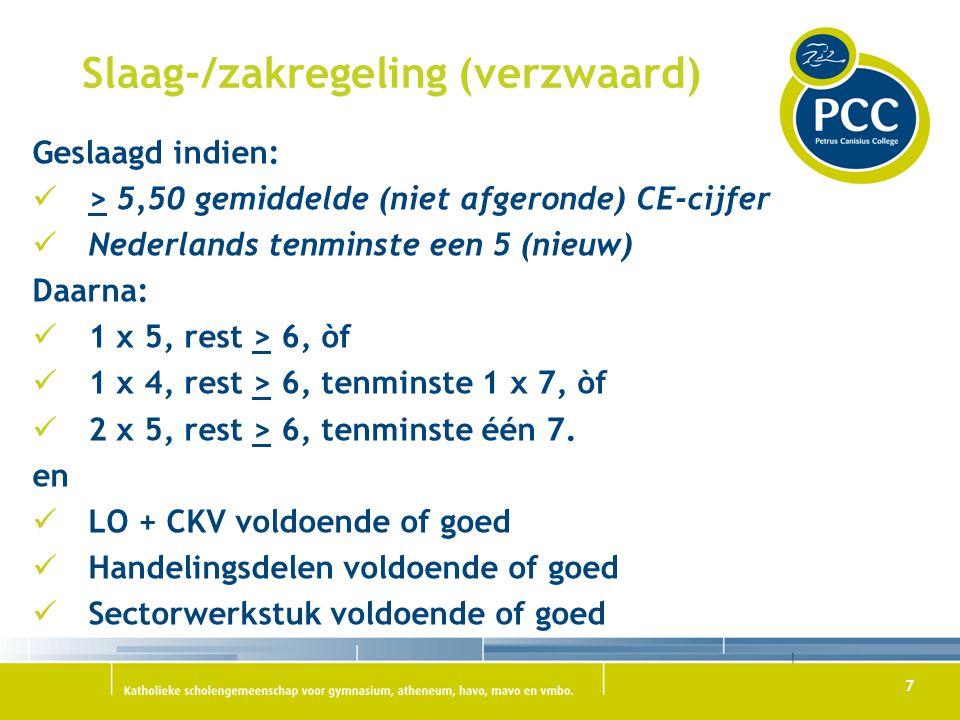 7 Slaag-/zakregeling (verzwaard) Geslaagd indien: > 5,50 gemiddelde (niet afgeronde) CE-cijfer Nederlands tenminste een 5 (nieuw) Daarna: 1 x 5, rest