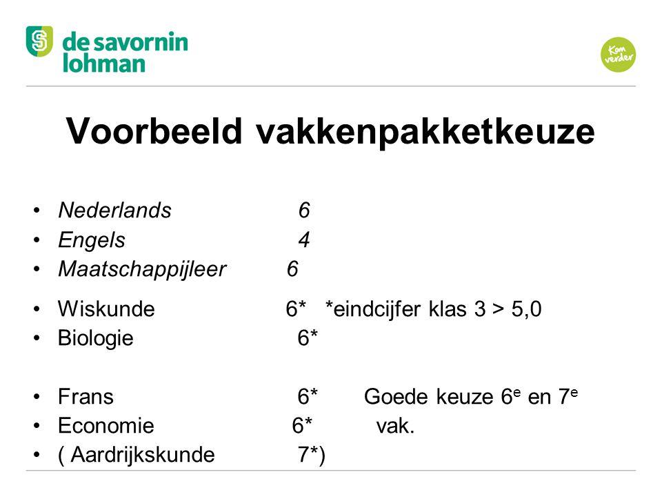 Ov Voorbeeld vakkenpakketkeuze Nederlands6 Engels4 Maatschappijleer 6 Wiskunde 6* *eindcijfer klas 3 > 5,0 Biologie6* Frans6*Goede keuze 6 e en 7 e Ec