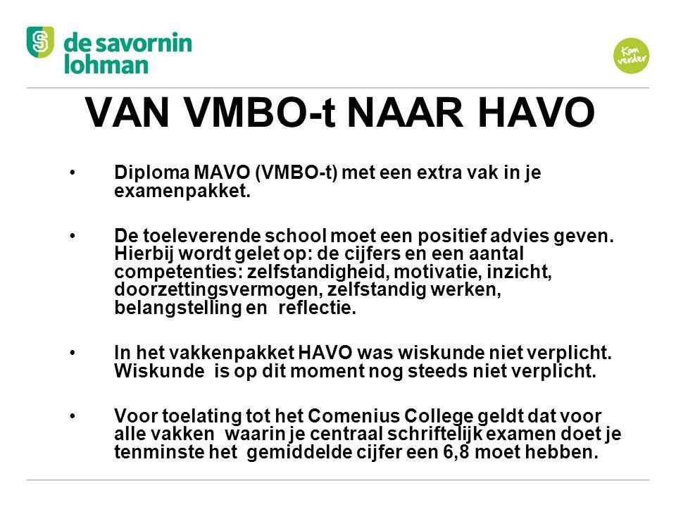 Ov VAN VMBO-t NAAR HAVO Diploma MAVO (VMBO-t) met een extra vak in je examenpakket. De toeleverende school moet een positief advies geven. Hierbij wor