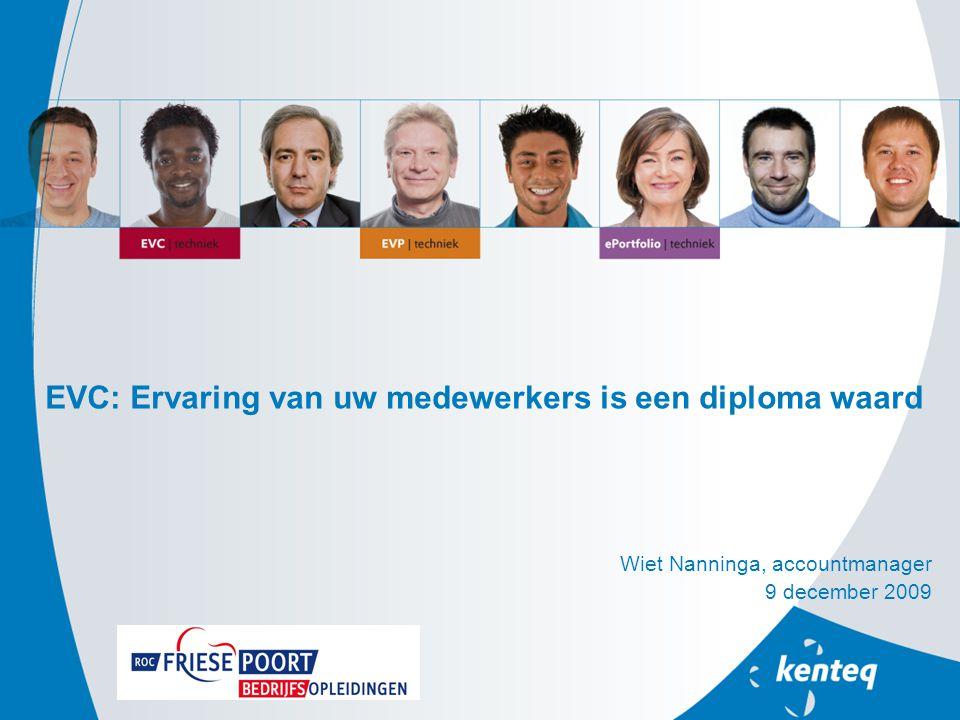 EVC: Ervaring van uw medewerkers is een diploma waard Wiet Nanninga, accountmanager 9 december 2009